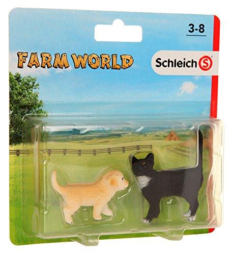 Schleich - Set 2 figuras de Farm Life. Cachorro Golden Retriever y Gato