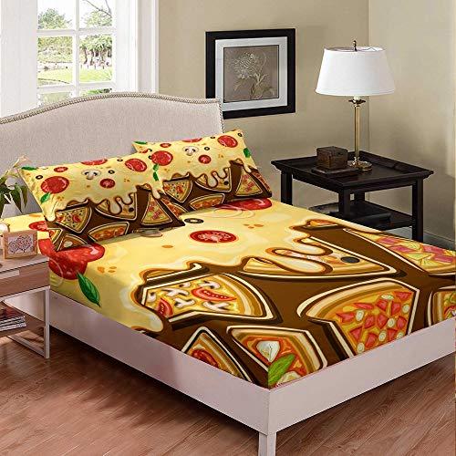 richhome Juego de sábanas de pizza, para niños y niñas, tamaño doble, color amarillo, de tomate, moderno, champiñón, ropa de cama, sábanas bajeras, sábanas bajeras, 2 piezas