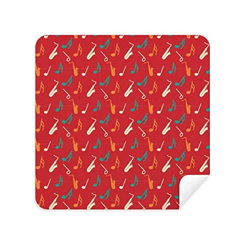 Red Saxophone Music Notes Cleaning Cloth Screen Cleaner Suede Fabric 2pcs