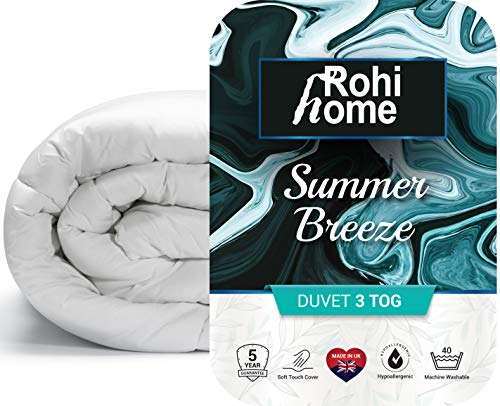 Rohi Summer Breeze Single Duvet, 3 Tog Soft Like Down Airy & Slim Summer Quilt