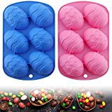 2 Pcs Easter Egg Shaped Silicone Baking Mold 3D Cake Mold Muffin Chocolate Cookie Baking Mould Pan Ice Maker Mould