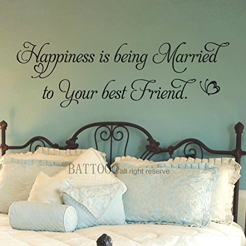 """BATTOO Happiness is Being Married Decal Home Vinyl Decal Wedding Decal Marriage Decal Bridal Shower Wall Decor Decals Love Decals, 22"""" W by 7"""" H Black"""