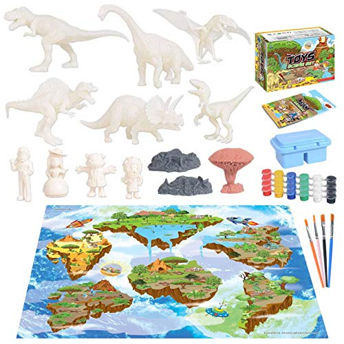 Dinosaur Painting Toys, 3D Paint Your Own Unique Dinosaur DIY Kit, 44/49/53/56 Pcs Non-Toxic Kids Arts and Crafts Set, Birthday Christmas Dino Gifts for Boys Girls Age 3 4 5 6 7 8 Party Favors