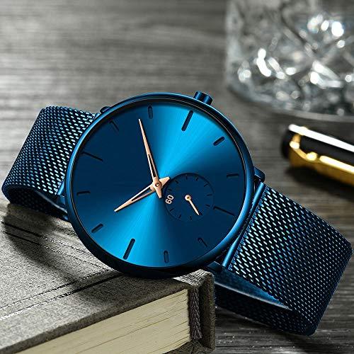 Voigoo Klassische Business-Mann-Uhr-beiläufiges wasserdichtes Einfaches ultradünne Quarz-Armbanduhr Minimalist Mesh-Taktgeber-Geschenk for Männer
