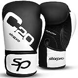 Starpro C20 Manoplas Boxeo curvadas de Cuero sintético - Almohadillas de Entrenamiento de Boxeo Muay Thai MMA Kick Boxing Artes Marciales - Negro y Blanco (Negro, 10oz)