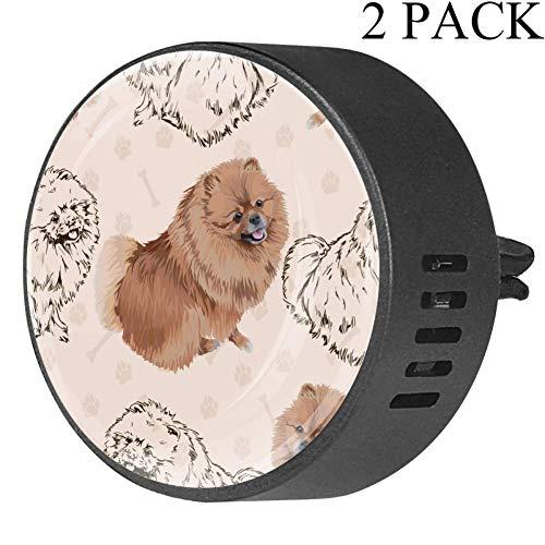 BestIdeas Auto-Lufterfrischer mit Pomeranian Dogs, weißer Moschus, Aromatherapie, ätherisches Öl, 2 Stück
