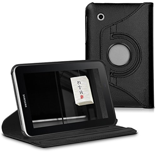 kwmobile 360° Case Compatible with Samsung Galaxy Tab 2 7.0 P3110 / P3100 - PU Leather Tablet Cover with Stand Function - Black