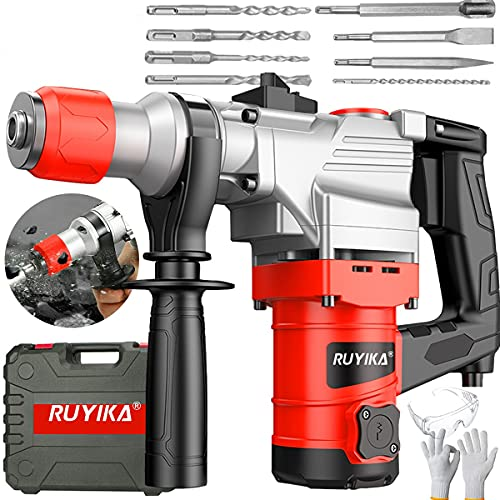 RUYIKA 2000W Rotary Hammer Drill Kit, Heavy Duty Rotary Hammer, 2 Functions, 360°Rotating Handle Including 4 Sized SDS Plus Drill with Carrying Case