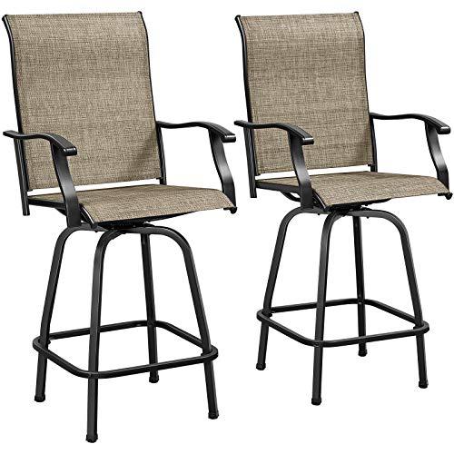 Yaheetech Outdoor Swivel Bar Stools, Set of 2 All-Weather Bar Height Patio Chairs Furniture for Garden Backyard, Bronze