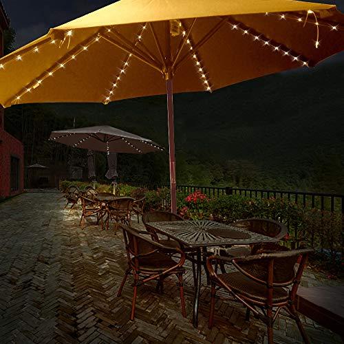 Dewanxin lampada ombrellone,Ombrellone da terrazzo con luci cordless per ombrellone con telecomando,8 modalità,104 LED, funzionamento a batteria,impermeabile,ideale per Decorazione del cortile esterno