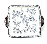 Temp-tations 8' Square Tray w/Tab Handles, Snack Plate, OR Cheese & Cracker Tray (Floral Lace Blue)