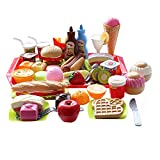 CatchStar Fast Food Toy Set Variety Pretend Fast Food Set Realistic Play Hamburger Playset Plastic Burger Play Food Toy Gift for Kids Girl Boy Toddler Children Baby Kitchen Educational Gift 41 Piece