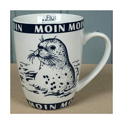 Maritim Porzellan Becher mit Seehund Moin Moin Ebbe+Flut Inhalt 300ml Kaffeebecher Tasse Motiv (1252)