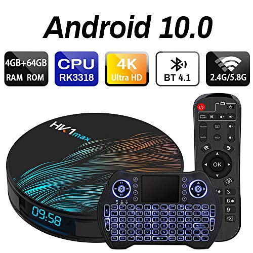 Android TV Box 10.0 4GB 64GB Smart TV Box Streaming Media Player RK3318 USB 3.0 Ultra HD 4K HDR WiFi 2.4GHz 5.8GHz Bluetooth 4.1 Set Top Box with Mini Wireless Backlit Keyboard HK1 MAX 4G 64G