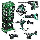 HITACHI Wk36025 - Juego de baterías Hiki (36 V, 5 dispositivos, 2 baterías de 5 Ah, cargador, 5 cajas HSC, tabla de ruedas y tabla de ruedas)