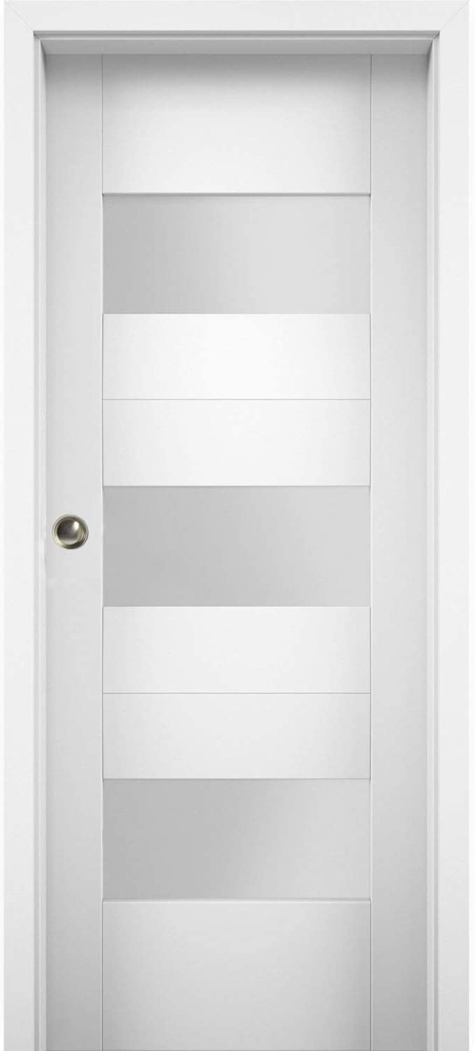 low-pricing Sliding Pocket Door 30 x 84 with Glass inches 6003 Sete Opaque Las Vegas Mall