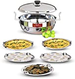QSEC Heavy Stainless Steel Idli Cooker Multi utility Kadai Steamer | Thick Base All-in-One Big Size with 5 Plate | 2 idli | 2 Dhokla | 1 Patra | Induction & Gastop Compatible | Sandwich Bottom Multipurpose kadai