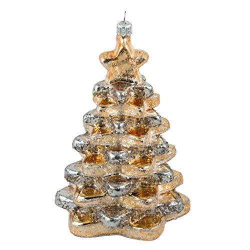 Miss Christmas 2020 Collection Cute as Candy Gingerbread Blown Glass Christmas Tree Ornament (Silver Line Gingerbread Tree)