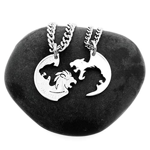 Lion and Lioness Couples Necklaces, Interlocking Like a Puzzle, Relationship Jewelry, By NameCoins