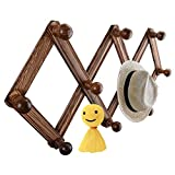 Vanyda - Perchero extensible de madera para pared, 10 perchas de acordeón, perchero de decoración para puerta de salón
