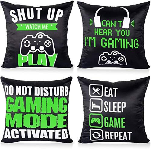 QIFU 4Pcs Black Green Gaming Cus...