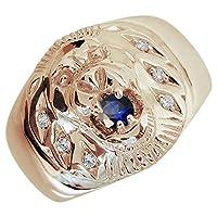 [プレジュール]ライオン サファイア メンズ K18ピンクゴールド 指輪 アニマルリング リングサイズ16号