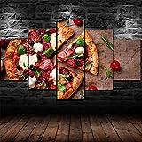 Sin Marco Cuadro sobre Lienzo 5 Piezas Impresión En Lienzo Cuadro De Pintura Póster De Arte Moderno Oficina Sala Estar Dormitorio Decoración del Hogar Arte De Pared Restaurante Pizzería 200X100Cm
