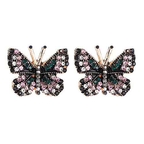 CHOUREN Pendant Necklace Fashion Butterfly Rhinestone Stud Short Earrings Party Banquet Women Jewelry Gift,Colour Name:Black (Color : Black)
