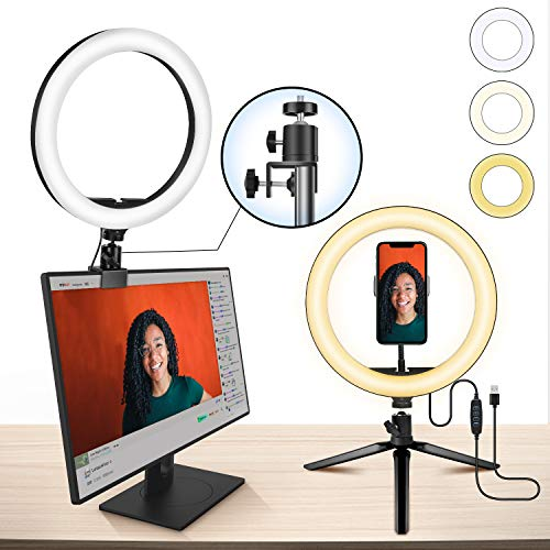 10' Ring Light MACTREM LED Light Ring with Tripod, Clamp & Phone Holder for YouTube Video, Makeup, Selfie, Photography, Live Streaming, Tiktok, 3 Light Modes & 10 Brightness Level