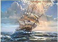 大人のための数字で描くDIY油絵学生初心者キャンバス数字でアクリル油絵家の装飾-海の波とヨット40x50cmフレームレス
