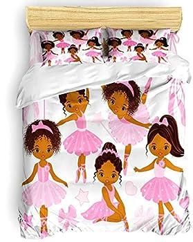 Girls Pink Bedding Duvet Cover Set Queen 3 Piece,Cute Little African American Ballerinas Pattern Bedding Set,Ballet Princess Dancer Theme Comforter Cover with Zipper(1 Duvet Cover +2 Pillow Cases)