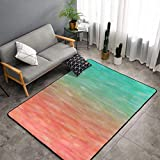 NiYoung Luxury Indoor Modern Blue Peach Coral Turquoise Watercolor Teal Orange Aqua Area Rugs for Living Room Bedroom Thick Non-Slip Kids Play Mats Floor Carpet for Children Room Nursery, 3 x 5 Feet