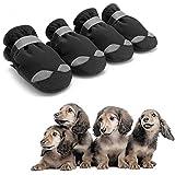 AODENER Botas de lluvia para cachorros con protección de patas impermeables para perros, color negro, reflectantes, antideslizantes, para cachorros pequeños, medianos, paquete de 4 pulgadas (4#)