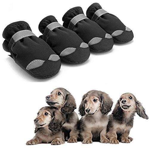 AODENER Botas de lluvia para perro para perro con protección de patas, impermeables, zapatos de lluvia para perros, color negro – Botas de nieve reflectantes antideslizantes para perros pequeños y medianos, juego de red de 4 pulgadas (4 #)