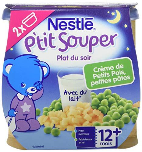 Nestlé Bébé P'tit Souper Crème de Petits Pois Petites Pâtes - Plat Légumes et féculents dès 12 mois - 2 x 200g - Pack de 8 ( 16 Plats )