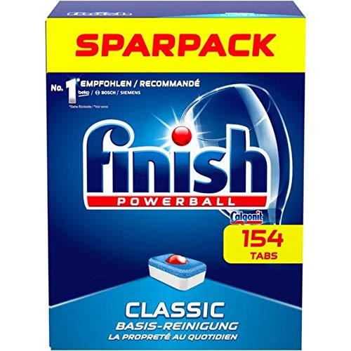Finish Classic Spülmaschinentabs, phosphatfrei – Geschirrspültabs mit Powerball für die Basis-Reinigung des Geschirrs – Sparpack mit 154 Finish Tabs