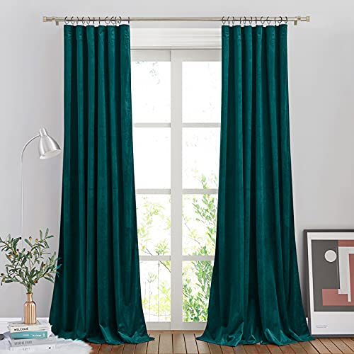 NICETOWN Thick Teal Velvet Drapes for Bedroom, Rod Pocket Soft Room Darkening Curtain Panels for Dining Room (2 Panels, 84 inches Long)