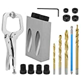willstar 18PCS 15 Degree Pocket Hole Screw Jig Guide Angle Drilling Tool Kit 6/8/10mm Hole Positioner Locator Tool for Woodworking Angel Drilling Holes (Silver)