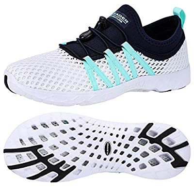 ALEADER Womens Water Shoes, Summer Tennis Walking Shoes White/Navy/Blue 8 B(M) US