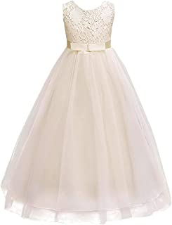 IWEMEK Girls Tulle Lace Flower Wedding Bridesmaid Dress Floor Length Princess Long A Line Pageant Formal Prom Dance Gown