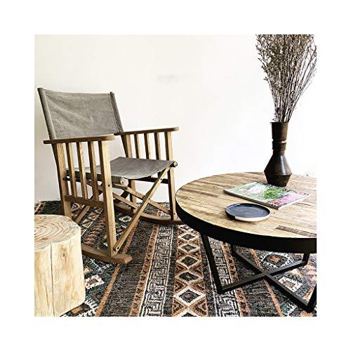 YDLOP Silla Mecedora Individual de Lona, sillón Plegable, Silla de Director de Madera Maciza...