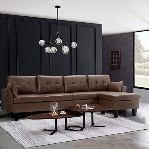 YODOLLA 4-Seat Convertible Sectional Sofa Couch, L-Shaped Sofa Couch with Modern Faux Leather, Brown Sectional for Apartment