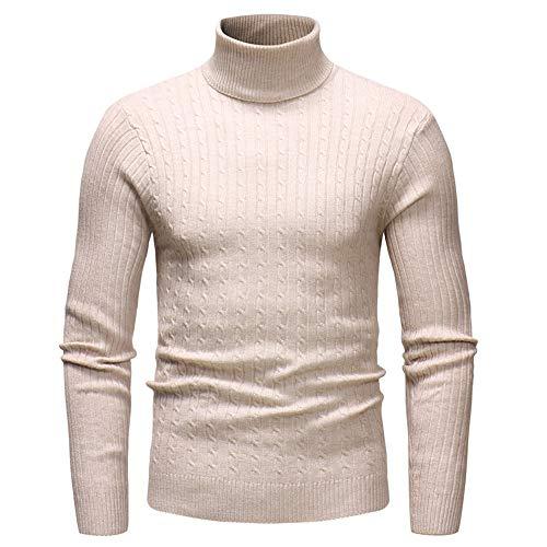 Sweater Herren Ohne Kapuze Langarm Warm Vintage Slim Fit Herren High Neck Einfarbigstrickwaren Herren Feinstrick Mode Lässig Frühling Und Herbst Boutique Herren Top E-Khaki XXL