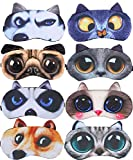 8 Pack Cute Animal Funny Sleep Eye Mask for Sleeping Cat Dog Soft Plush Blindfold Sleep Masks Eye Cover Eyeshade for Kids Girls Men Women Plane Travel Nap Night Sleeping