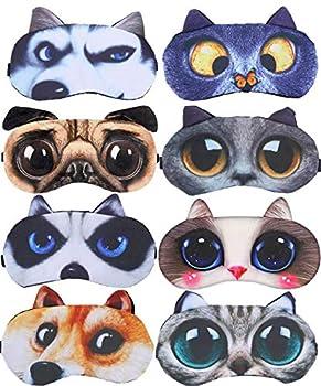 8 Pack Cute Animal Funny Sleep Eye Mask for Sleeping Cat Dog Soft Plush Blindfold Sleep Masks Eye Cover Eyeshade for Kids Girls Men Women Plane Travel Nap Night Sleeping