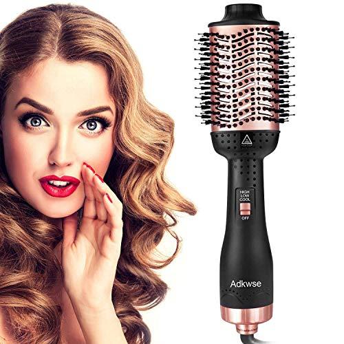 Aibesser Haartrockner, 5 in 1 Upgrade Warmluftbürste Hair Dryer Volumizer Heißluftbürste Negativer Lonic Föhnbürste Lockenwickler Stylingbürsten für Alle Styling(Schwarz Korallrot)