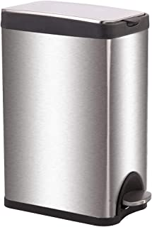 BestMassage Stainless Steel Trash Can Metal Trash Can Step Trash Can with Lid Removable Inner for Bathroom Kitchen Office 4Gallon/15L