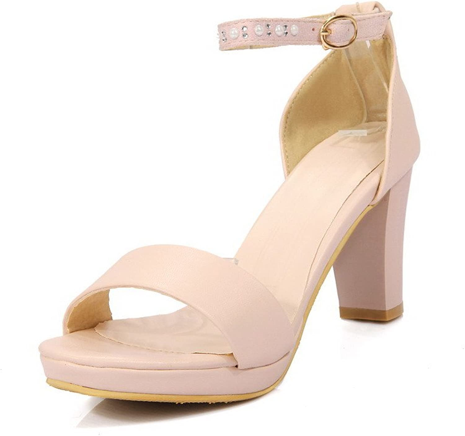 AmoonyFashion Women's Solid PU High-Heels Open Toe Buckle Heeled-Sandals with Zircon