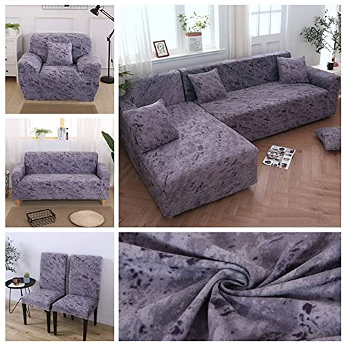 HUANXA L-Shaped Sofa Stretch Sofa Slipcover, 1 2 3 4 Seater Sofa Cover Non-slip Decoration All-inclusive Furniture Protector Couch Covers -Soot-Sofa [190-230cm]+Sofa [190-230cm]