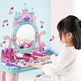 ZZAZXB Tocador Juguetes para Niña, Princesa Juego de Juguetes Tabla de Maquillaje con Luces Sonido, Taburete, Piano, Espejo y Accesorios, Perfecto para Regalo de Cumpleaños para Niños más de 3 años